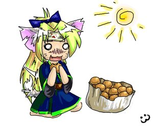 Rating: Safe Score: 0 Tags: 0_0 animal_ears blonde_hair blush bow cat_ears chibi cookies dress eating food inemuri long_hair postnuclearneko_(artist) simple_background sitting sun tail User: (automatic)nanodesu