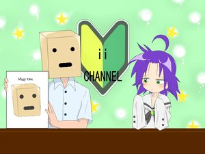 Rating: Safe Score: 0 Tags: ahoge anonymous bag_on_head blush box box-kun bubbles crossover floppy_sleeves green_eyes ii_channel kogami_akira lucky_channel lucky_star oversized_clothes paper_bag purple_hair star wakaba_mark User: (automatic)sparky44