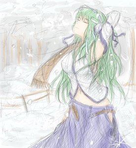 Rating: Safe Score: 0 Tags: detached_sleeves green_hair hater_(artist) kochiya_sanae long_hair midriff navel outdoors sketch snow /to/ touhou winter User: (automatic)Anonymous