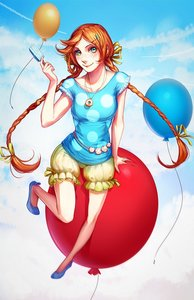 Rating: Safe Score: 0 Tags: 1girl balloon braid cloud doughnut freckles green_eyes hairclip hair_ornament ice_cream long_hair necklace orange_hair polka_dot ribbon shoes shorts sitting sky smile solo twin_braids User: (automatic)Anonymous