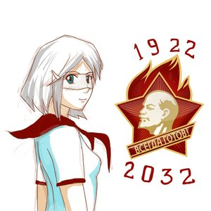 Rating: Safe Score: 0 Tags: 2032 asgu blue_eyes blush glasses grey_hair hairpin hudozhnik-kun_(artist) lenin necktie pioneer_tie red_star smile soviet star visor User: (automatic)timewaitsfornoone