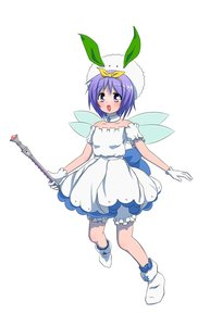 Rating: Safe Score: 0 Tags: 1girl bloomers blush dress gloves hat hiiragi_tsukasa /ls/ lucky_star magical_girl open_mouth possible_duplicate purple_eyes purple_hair short_hair simple_background snow_bunny socks solo staff wand wings User: (automatic)Anonymous