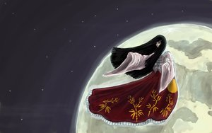Rating: Safe Score: 0 Tags: black_eyes black_hair flying fujiwara_no_mokou_(artist) houraisan_kaguya long_hair moon night sky star stars touhou User: (automatic)nanodesu