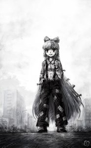 Rating: Safe Score: 0 Tags: 1girl bow building city fujiwara_no_mokou long_hair monochrome outdoors pants shirt solo suspenders /to/ touhou very_long_hair User: (automatic)Anonymous