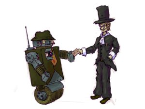 Rating: Safe Score: 0 Tags: fujiwara_no_mokou_(artist) hat male robot simple_background steampunk top_hat User: (automatic)nanodesu