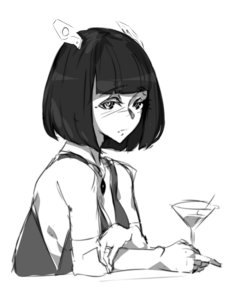 Rating: Safe Score: 0 Tags: 1girl black_hair blush breasts cocktail dress drinking glass goblet hairpin monochrome necklace oxykoma_(artist) ring sad short_hair sideboob User: (automatic)Willyfox