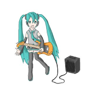 Rating: Safe Score: 0 Tags: aqua_eyes aqua_hair black_legwear detached_sleeves guitar hatsune_miku instrument long_hair music /o/ oekaki open_mouth simple_background skirt thighhighs twintails vocaloid zettai_ryouiki User: (automatic)nanodesu