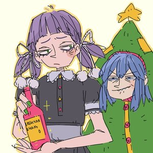 Rating: Safe Score: 0 Tags: 2girls blue_hair bottle christmas_tree cirno frown green_eyes holding multiple_girls nail_polish new_year purple_hair simple_background star teeth transparent_background twintails unyl-chan User: (automatic)Anonymous