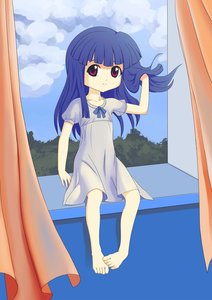 Rating: Safe Score: 0 Tags: 1girl barefoot blue_hair cloud dress furude_rika highres higurashi_no_naku_koro_ni long_hair purple_eyes sitting sky smile solo window User: (automatic)Anonymous