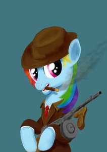 Rating: Safe Score: 0 Tags: /bro/ business_suit cigar gun hat multicolored_hair my_little_pony no_humans pony rainbow_dash simple_background smoke smoking weapon User: (automatic)Anonymous