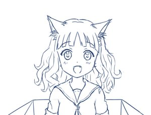 Rating: Safe Score: 0 Tags: 1girl animal_ears blush box cardboard_box cat_ears curly_hair fang hairclip long_hair monochrome oomuro_sakurako open_mouth school_uniform sketch solo yuru_yuri User: (automatic)Anonymous