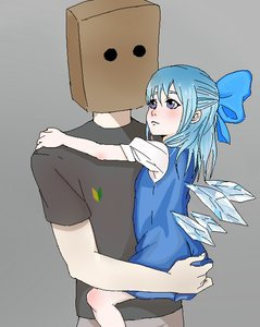 Rating: Safe Score: 0 Tags: 1girl anonymous bag_on_head blue_eyes blue_hair bow carrying cirno dress grey_background hair_bow shirt simple_background /to/ touhou t-shirt wakaba_mark wings User: (automatic)Anonymous