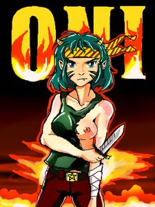 Rating: Safe Score: 0 Tags: 1girl breasts green_eyes green_hair horns idleantics_(artist) knife lum /o/ oekaki ribbon scar solo torn_clothes urusei_yatsura weapon User: (automatic)nanodesu