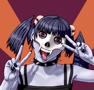 Rating: Safe Score: 0 Tags: blue_hair collar creepy-chan grey_skin mask nail_polish red_eyes skull tongue twintails v User: (automatic)Anonymous