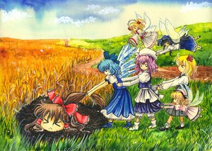 Rating: Safe Score: 0 Tags: >_< black_hair blonde_hair blue_hair bow brown_hair cirno curly_hair dirt dress drill_hair fairy grass hakurei_reimu hat headdress height_difference landscape letty_whiterock long_hair luna_child multiple_girls nature outdoors pink_hair road rumia short_hair sky star_sapphire sunny_milk /to/ touhou traditional_media twintails wings yukkuri User: (automatic)nanodesu