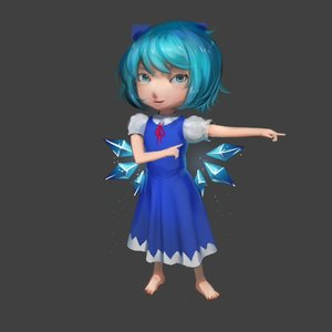 Rating: Safe Score: 0 Tags: 1girl 3d barefoot blue_eyes blue_hair bow cirno dress grey_background short_hair simple_background solo touhou wings User: (automatic)Anonymous