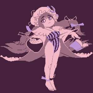 Rating: Safe Score: 0 Tags: :< 1girl /an/ barefoot book hat long_hair patchouli_knowledge pixel_art purple simple_background solo spread_arms striped touhou User: (automatic)Anonymous