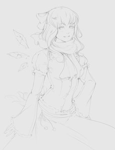 Rating: Safe Score: 0 Tags: 1girl alternate_costume bow cirno grey_background hair_bow hand_on_hip monochrome scarf simple_background sketch smile snowflake solo touhou wings User: (automatic)Anonymous