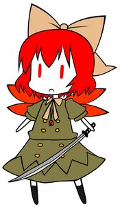 Rating: Safe Score: 0 Tags: bow chibi cirno colored crossover madskillz photoshop red_eyes red_hair shakugan_no_shana shana sword touhou weapon User: (automatic)Anonymous