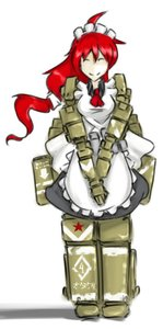 Rating: Safe Score: 0 Tags: ^_^ ahoge apron long_hair maid maid_outfit mecha_musume panzermeido_(artist) red_hair smile tank User: (automatic)Willyfox