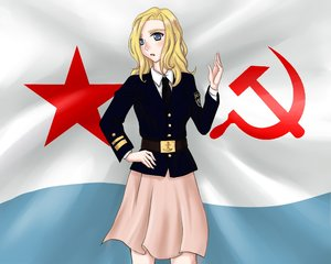 Rating: Safe Score: 0 Tags: 1girl belt blonde_hair blue_eyes flag hammer_and_sickle hand_on_hip long_hair necktie open_mouth shirt skirt solo soviet star uniform User: (automatic)Anonymous