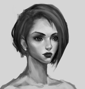 Rating: Safe Score: 0 Tags: 1girl bare_shoulders monochrome portrait realistic short_hair solo User: (automatic)Anonymous