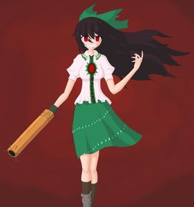 Rating: Safe Score: 0 Tags: bow brown_hair evil_smile grin highres long_hair red_eyes reiuji_utsuho shirt skirt touhou User: (automatic)nanodesu