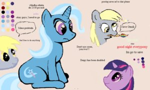 Rating: Safe Score: 0 Tags: animal /bro/ collective_drawing derpy_hooves flockdraw horn horns madskillz multicolored_hair my_little_pony no_humans oekaki pony sketch twilight_sparkle unicorn User: (automatic)Anonymous