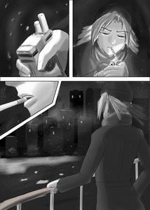 Rating: Safe Score: 0 Tags: cigarette city coat dvach-tan hat manga_page monochrome noir outdoors smoking snow twintails User: (automatic)Anonymous