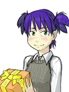 Rating: Safe Score: 0 Tags: blush bow box collar gift green_eyes happy happy_birthday purple_hair ribbon smile sweater_vest tears twintails unyl-chan User: (automatic)timewaitsfornoone