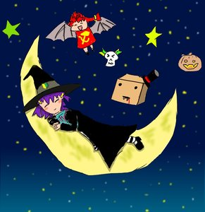 Rating: Safe Score: 0 Tags: ^_^ banhammer-tan bat box-kun chibi fang halloween hat lying madskillz moon night pumpkin purple_hair red_hair skull sleeping star stars unyl-chan ussr-tan vampire wakaba_mark wings witch witch_hat User: (automatic)nanodesu