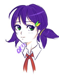 Rating: Safe Score: 0 Tags: alternate_hairstyle green_eyes hairpin necktie orikanekoi_(artist) pioneer_necktie purple_hair twintails unyl-chan wakaba_mark User: (automatic)Anonymous