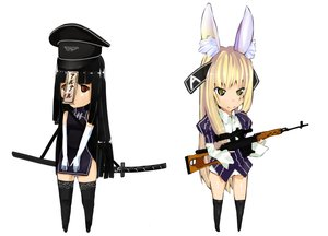 Rating: Safe Score: 0 Tags: 2girls alterchan animal_ears black_hair blonde_hair bunny_ears chibi elbow_gloves gloves hat long_hair oxykoma_(artist) personification red_eyes sword thighhighs weapon yellow_eyes zettai_ryouiki User: (automatic)Anonymous