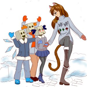 Rating: Safe Score: 0 Tags: animal_ears anonymous bag_on_head bow braid brown_hair cat_ears cirno dvach-tan green_eyes hudozhnik-kun_(artist) long_hair multiple_girls tail touhou twintails unyl-chan uvao-chan winter winter_clothes User: (automatic)nanodesu