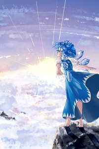 Rating: Safe Score: 0 Tags: barefoot blue_eyes blue_hair bow cirno cloud dawn dress from_behind outdoors rock short_hair sky touhou upskirt wings User: (automatic)Anonymous