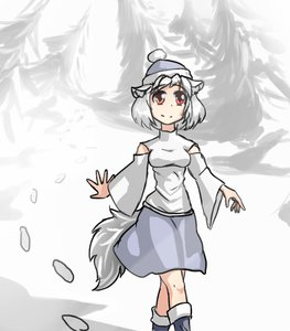 Rating: Safe Score: 0 Tags: animal_ears detached_sleeves grey_hair hat hater_(artist) inubashiri_momiji outdoors red_eyes short_hair skirt snow tail /to/ touhou white_hair User: (automatic)Anonymous