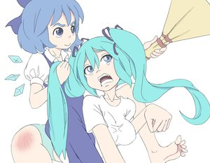 Rating: Safe Score: 0 Tags: 2girls aqua_hair barefoot blue_eyes blue_hair bow cirno crossover dress eyebrows hatsune_miku long_hair open_mouth riding shirt short_hair simple_background touhou t-shirt twintails vocaloid wings User: (automatic)Anonymous
