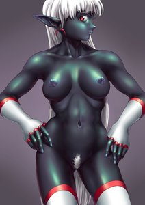 Rating: Explicit Score: 0 Tags: 1girl /an/ blue_skin breasts dark_skin earrings elbow_gloves elf fingerless_gloves gloves grey_background hands_on_hips jewelry long_hair navel nipples pointy_ears pubic_hair red_eyes silver_hair simple_background solo thighhighs very_long_hair User: (automatic)Anonymous