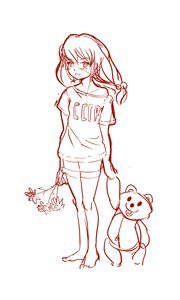 Rating: Safe Score: 0 Tags: 1girl bare_legs flower idleantics_(artist) monochrome shirt sketch solo toy t-shirt twintails ussr-tan User: (automatic)nanodesu
