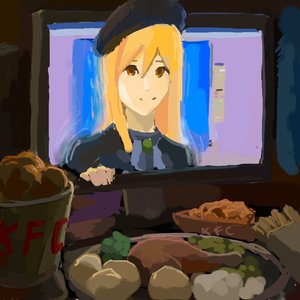 Rating: Safe Score: 0 Tags: 2d_dating beret blonde_hair brown_eyes computer food hat higurashi_no_naku_koro_ni long_hair /o/ oekaki smile takano_miyo through_screen User: (automatic)nanodesu