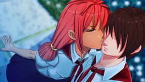 Rating: Safe Score: 0 Tags: brown_hair closed_eyes dutch_angle eroge faceless from_above game_cg highres kiss male necktie outdoors pioneer pioneer_necktie pioneer_uniform red_hair semyon_(character) shirt short_hair twintails ussr-tan User: (automatic)Anonymous