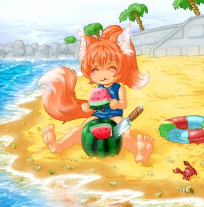 Rating: Safe Score: 0 Tags: ^_^ 1girl animal_ears bare_hands bare_legs beach blush crab eating fox fox_ears fox_tail has_child_posts knife loli lolifox palm_(tree) pincers ponytail red_hair rubber_ring sand school_swimsuit sea shell solo stone swimsuit tail wall water watermelon User: (automatic)Willyfox