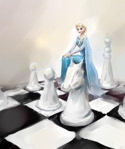 Rating: Safe Score: 0 Tags: 1girl blonde_hair blue_eyes braid checkered chess chess_piece dress elsa frozen long_hair pun sitting smile solo too_literal User: (automatic)Anonymous