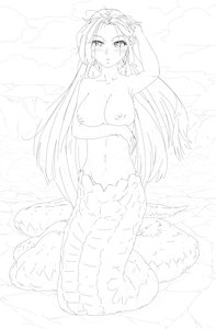 Rating: Explicit Score: 0 Tags: 1girl arm_up blush breast_hold breasts f2d_(artist) lamia long_hair monochrome monster_girl nipples nude outdoors sketch solo wet User: (automatic)Anonymous