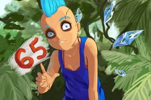 Rating: Safe Score: 0 Tags: 1girl alternate_costume alternate_hairstyle bikini_top blue_eyes blue_hair cirno eyeshadow madskillz_thread_oppic makeup mohawk nature outdoors parody pointing scar solo source_request tank_top teeth top touhou wings User: (automatic)Anonymous
