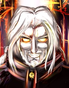 Rating: Safe Score: 0 Tags: blood cloak co_(artist) dracula evil_smile fang fire glowing_eyes long_hair male silver_hair teeth vampire User: (automatic)Willyfox