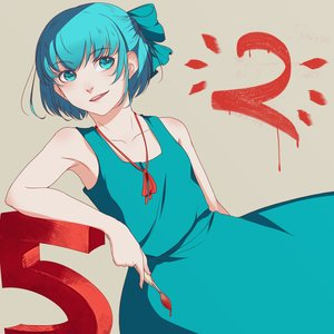 Rating: Safe Score: 0 Tags: 1girl alternate_costume bare_shoulders blue_eyes blue_hair bow brush cirno dress madskillz_thread_oppic short_hair smile solo touhou User: (automatic)Anonymous