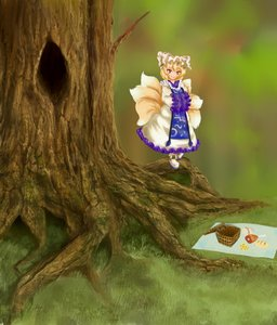 Rating: Safe Score: 0 Tags: 1girl basket blonde_hair bread cheese dress food fox_tail grass hat meat multiple_tails orange_eyes outdoors picnic smile solo tabard tail touhou tree unfinished yakumo_ran User: (automatic)Anonymous