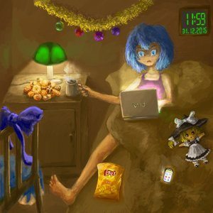 Rating: Safe Score: 0 Tags: 1girl barefoot bed blue_eyes blue_hair bow cellphone chips cirno clock cookies cup doll dress food indoors kirisame_marisa lamp laptop messy_hair new_year phone room short_hair solo touhou User: (automatic)Anonymous