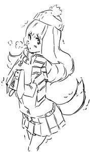 Rating: Safe Score: 0 Tags: animal_ears hat long_hair monochrome oxykoma_(artist) scarf sketch skirt tail toy trembling User: (automatic)Anonymous